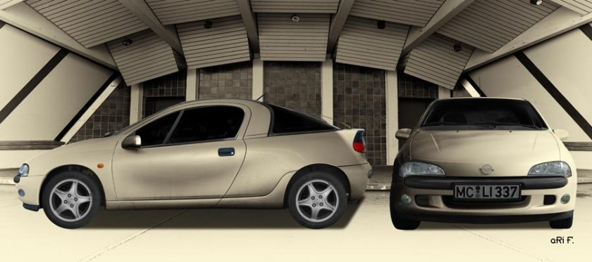 Opel Tigra Poster double view in Antique color