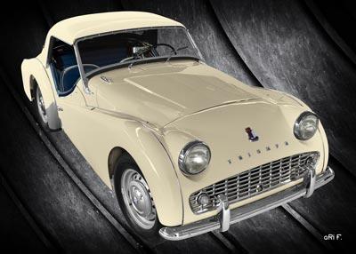Triumph TR3A Poster in antique & black
