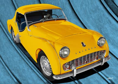 Triumph TR3A in yelow & blue for sale