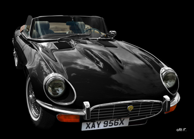 Jaguar E-Type Serie 3 Roadster Poster in black & black