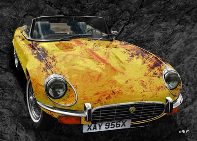 Jaguar E-Type Serie 3 Roadster in yellow stone