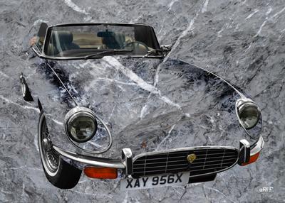 Jaguar E-Type Serie 3 Roadster in grey stone