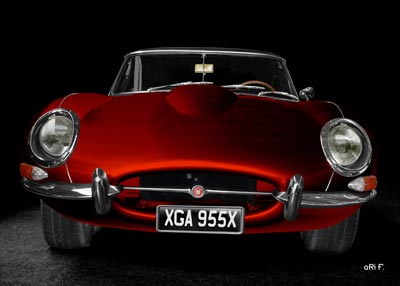 Jaguar E-Type Serie 1 front view in red by aRi F.