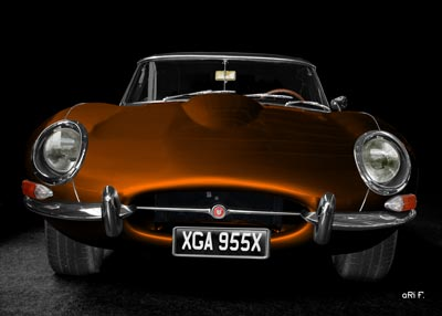 Jaguar E-Type Series I Poster in copper front view