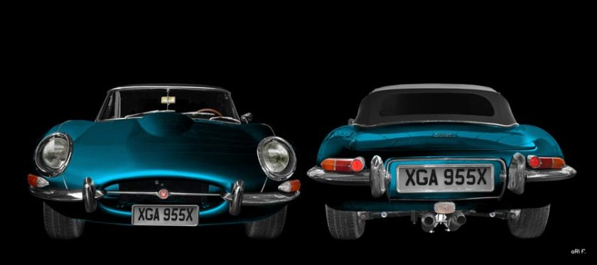 Jaguar E-Type Series I in blue double view