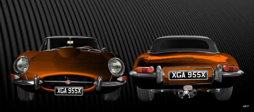 Jaguar E-Type Series I Poster in copper double view