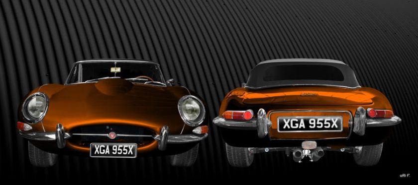 Jaguar E-Type Series I in copper double view