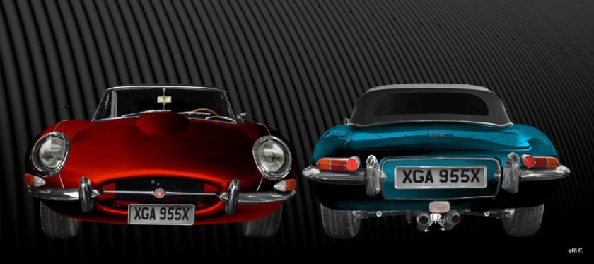 Jaguar E-Type Roadster Series I Poster in red & blue double view