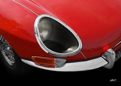 Jaguar E-Type Serie 1 Poster Frontdetail (Originalfarbe)