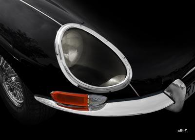 Jaguar E-Type Serie 1 in black Frontdetail