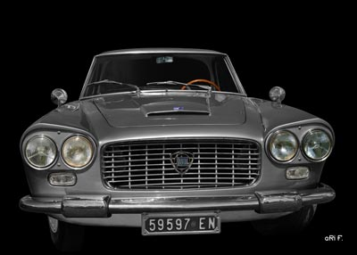 Poster Lancia Flaminia in original color metallic-silber for sale