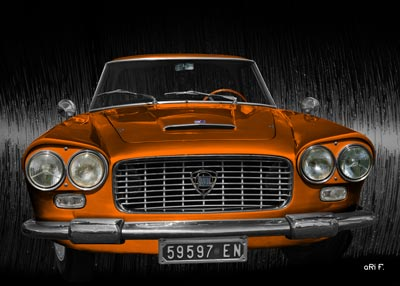 Poster Lancia Flaminia in black & orange
