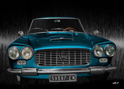 Poster Lancia Flaminia Coupé GT 2.8 3C in black & blue