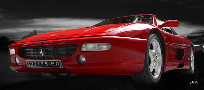 Ferrari F355 Spider Poster in read & black
