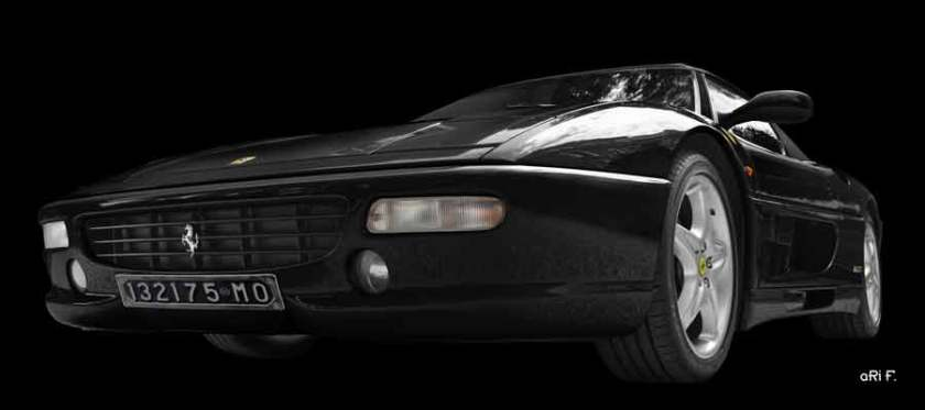 Ferrari F355 Spider Poster in dark black