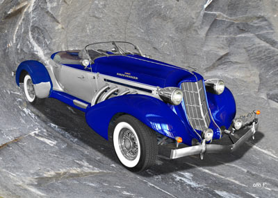 1936 Auburn 852 Supercharged Speedster on rock