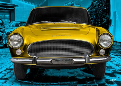 Auto Union 1000 SE millespecial Poster in blue & yellow front view