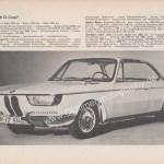 BMW 2000 CS technisches Merkblatt
