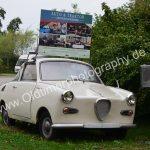 Goggomobil 250 Coupé als Werbeträger für Auto & Traktor Museum Bodensee in Unteruhldingen-Mühlhofen