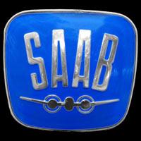 Logo Saab 96 noch mit stilisiertem Flugzeug auf Kühlergrill ab 1963