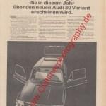 Audi 80 Variant Reklame Werbung Advertising publicité 1966