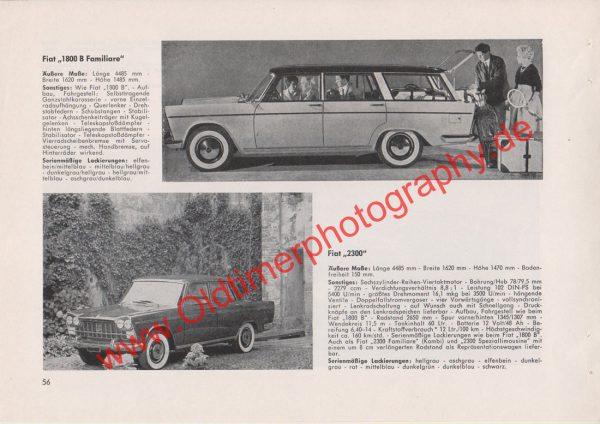 Original Werbung Fiat 1800 B Familiare Fiat 2300 - Original Fiat Werbung aus Auto Modelle Katalog von 1963