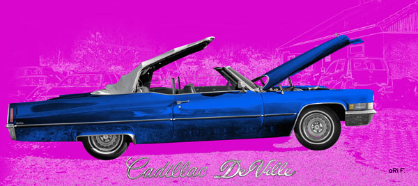 1970 Cadillac DeVille Convertible blue & pink side view