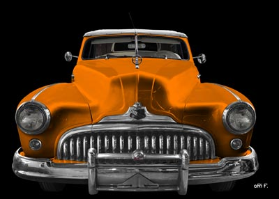 1947 Buick Super Convertible in black & orange closed