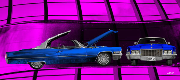 1970 Cadillac DeVille Convertible blue & pink windows