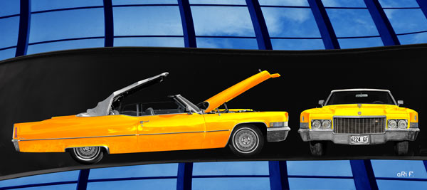 1970 Cadillac DeVille Convertible yellow & blue windows