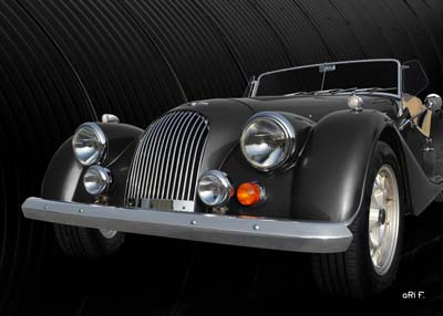 Morgan Plus 8 in black front view