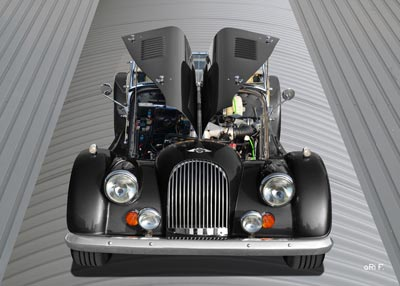 Morgan Plus 8 in black & grey on top (Originalfarbe)