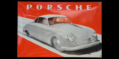 1949, Emailleschild Porsche 356 Gmünd Entwurf Demar
