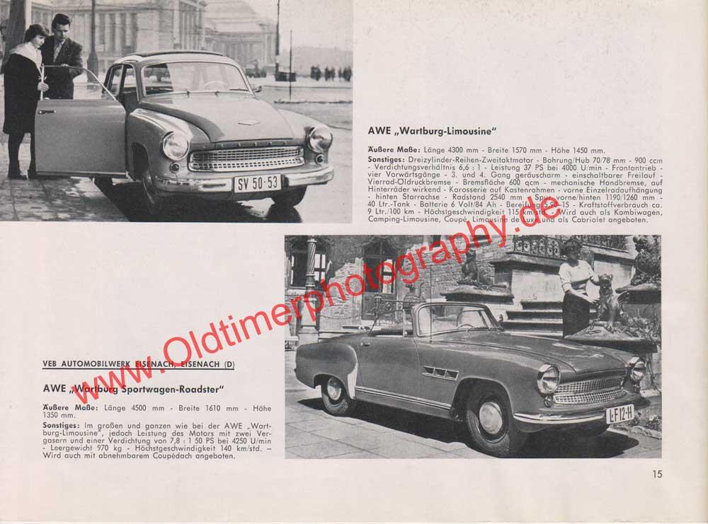 AWE Wartburg 312 Limosuine und Sportwagen-Roadster technische Daten von 1965