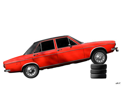 Poster Audi 100 C1 in red & white side view (Originalfarbe)