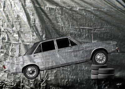 Audi 100 C1 in pure silver foil