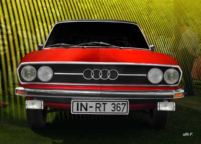 Audi 100 C1 in pure red & yellow front view