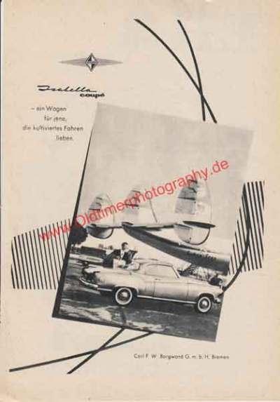 Original Borgward Isabella Coupe Werbung von 1959