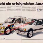 Peugeot 205 AMS Werbung Advertising Ausgabe 10/1987 Seite 1-2