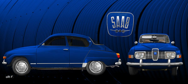 Saab 96 Poster in blue & blue double view