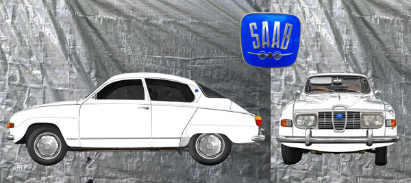 Saab 96 in white graphit double view