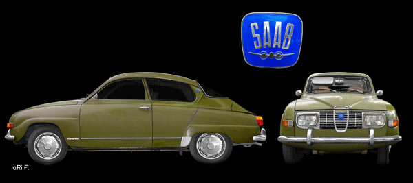 Saab 96 in green double view (Originalfarbe)