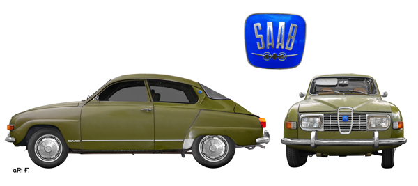 Saab 96 in white & green double view (Originalfarbe)