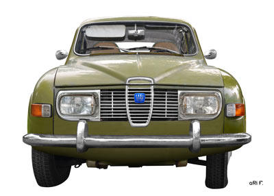 Saab 96 Poster in white & green (Orignalfarbe)
