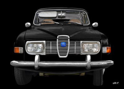 Saab 96 Poster in black & black pure