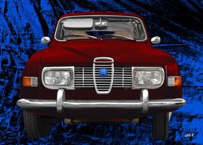 Saab 96 in blue & darkred