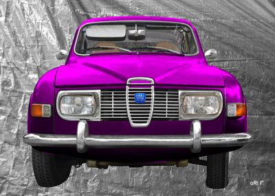 Saab 96 Poster in silver & pink