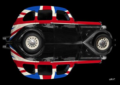 Singer Bantam Saloon in reflection with Union Jack
