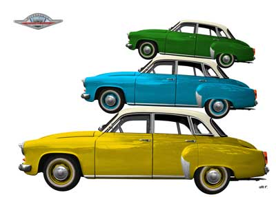 Wartburg 312 Poster trio in yellow blue green