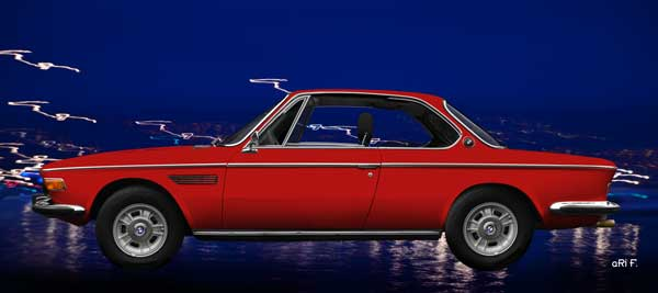 Poster BMW 3.0 E9 in red side view
